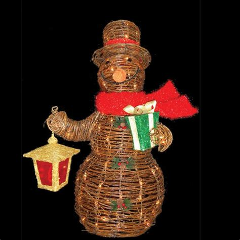sterling 3 ft lighted decorated rattan snowman 92513002