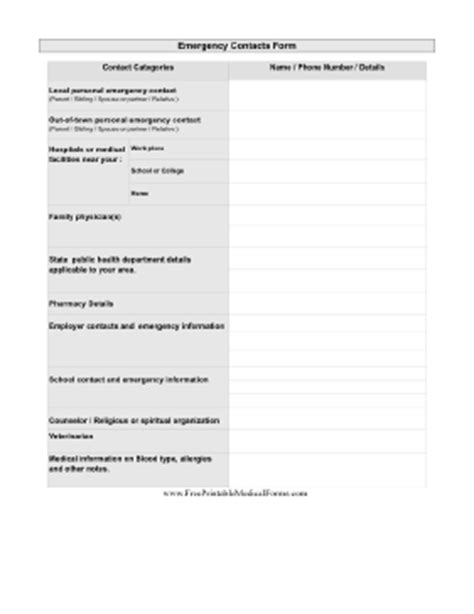 printable pandemic emergency contacts form