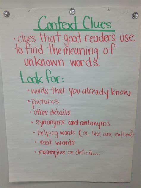 Context Clues  4th Grade Ela Anchor Charts Pinterest