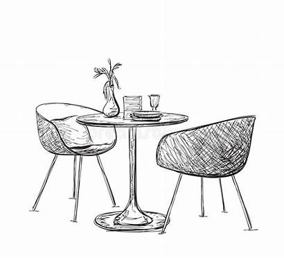 Table Sketch Chairs Interior Modern Furniture Hand