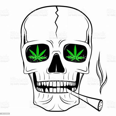 Weed Smoking Skull Marijuana Drawing Joint Cannabis