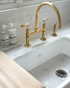 Unlacquered, Brass, Wall, Mount, Kitchen, Faucet