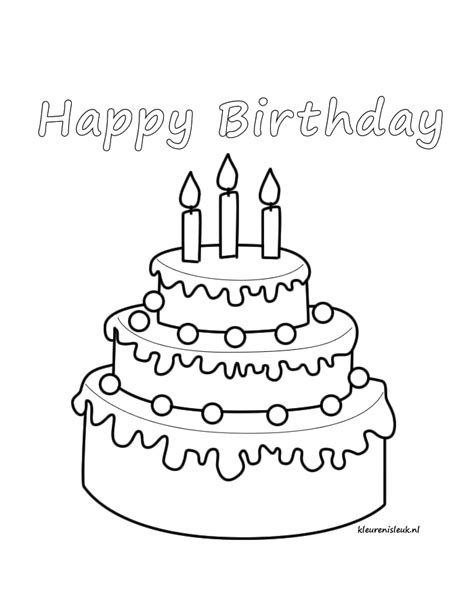 Kleurplaat Happy by Happy Birthday Kleurplaat Op Www Kleurenisleuk Nl
