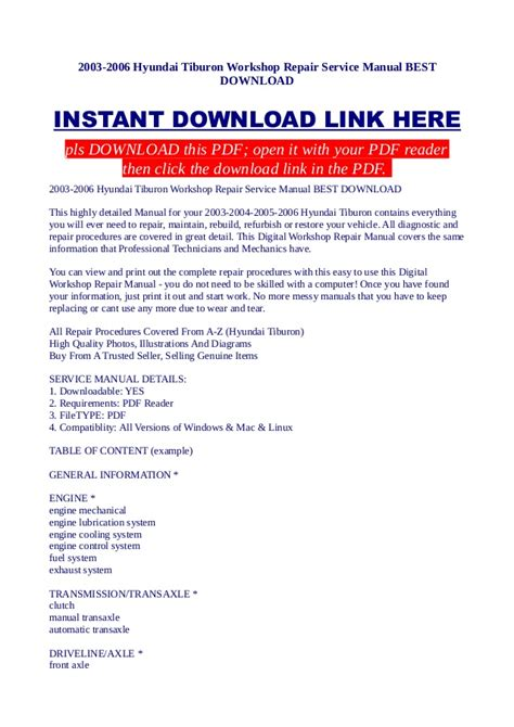 how to download repair manuals 2004 hyundai tiburon lane departure warning 2003 2006 hyundai tiburon workshop repair service manual best download