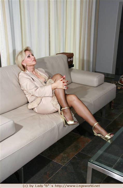 German Lady Barbara Teasing In Stockings And Golden Heels