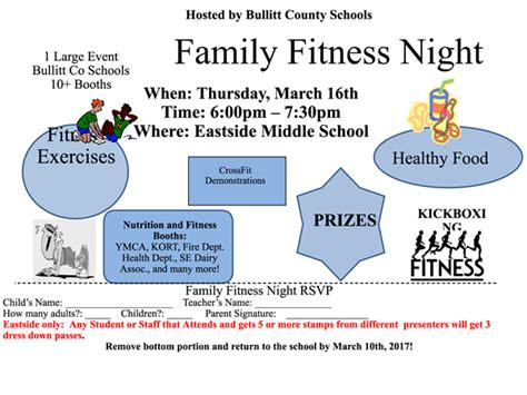 family fitness night eastside middle school