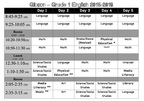 class schedule ms gibsons grade  class