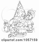 Christmas Tree Outline Coloring Trimming Children Clip Clipart Royalty Illustration Alex Bannykh Decorating Pages Printable Vector Rf Illustrations Graphics Clipartof sketch template