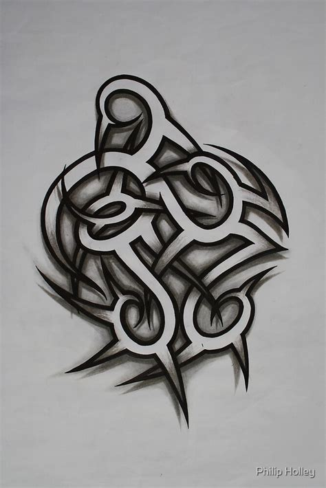 shaded tribal style tattoo  philip holley redbubble