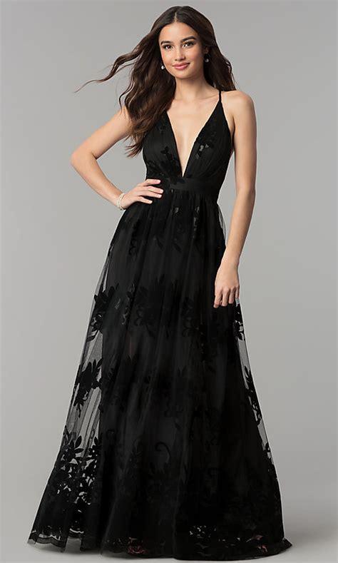 V-Neck Open-Back A-Line Formal Prom Dress - PromGirl