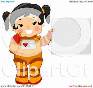 Clipart Cute Girl Astronaut Holding A Sign - Royalty Free ...