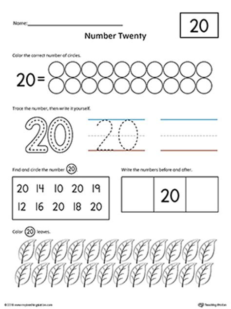 preschool writing numbers printable worksheets 481 | Practicing Number 20 Worksheet