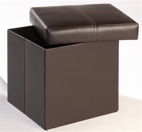 small ottoman with storage madrid small storage ottoman footstool brown faux leather