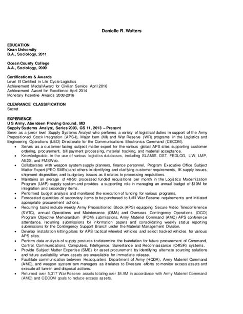 supply systems analyst government resume