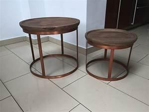 Beistelltisch Kupfer Impressionen : 2er set beistelltisch rund kupfer couchtisch rund kupfer naturholz durchmesser 53 43 cm ~ Indierocktalk.com Haus und Dekorationen