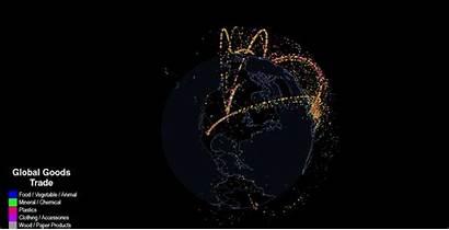 Trade 3d Data Flow Visual International Visualization