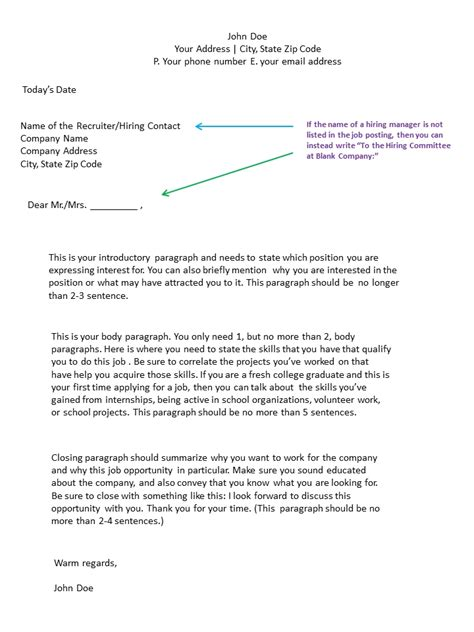application cover letter format letters  sample