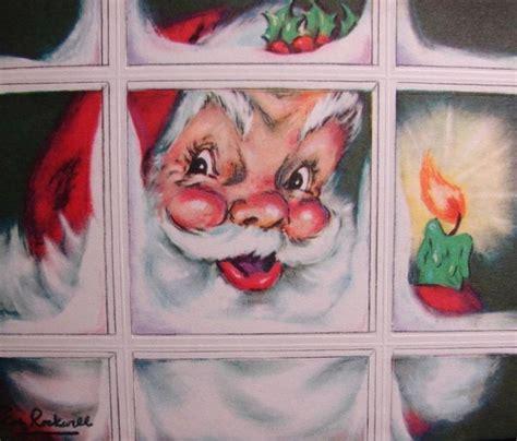 retrochristmas santa peeking  window vintage christmas