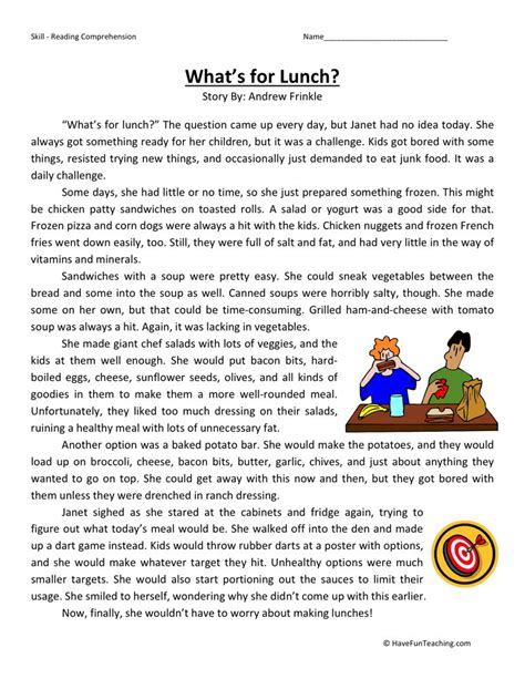 reading comprehension worksheets for third graders third