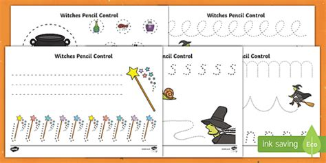 witches pencil control activity sheets  pencil control
