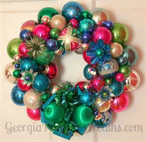 how to make a christmas wreath out of vintage ornaments georgia peachez secrets retro