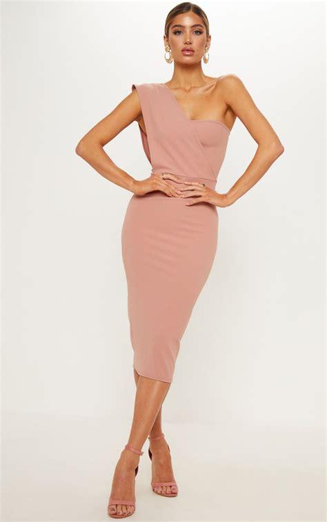 Drape Dress With One Shoulder - dusty pink one shoulder drape midi dress prettylittlething