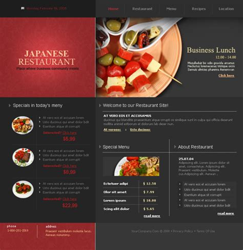 flash food restaurant flash templates