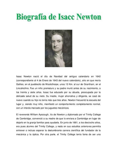 Isaac Newton Resumen De Su Vida by Biografia Newton