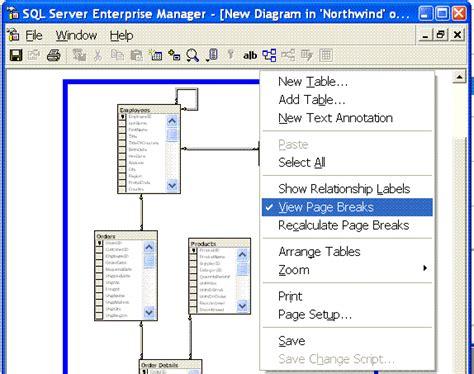 sql server enterprise manager tip printing diagrams