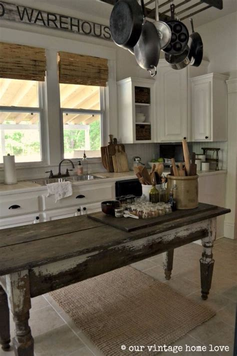 farm table kitchen island vintage home designs that will make you want to time travel 7142