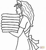 Maid Coloring Pages Printable Stencils Drawing Hotel Line Crafts Cartoon Printables Plain Template Hotels Visit Jane Amazing sketch template