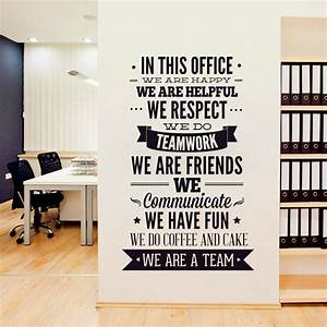 New fashion quotes wall sticker office rules vinyl