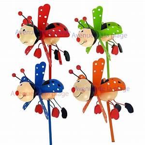 Moulin Deco Jardin : moulin vent coccinelle en bois 11 cm deco de jardin pas cher ~ Teatrodelosmanantiales.com Idées de Décoration