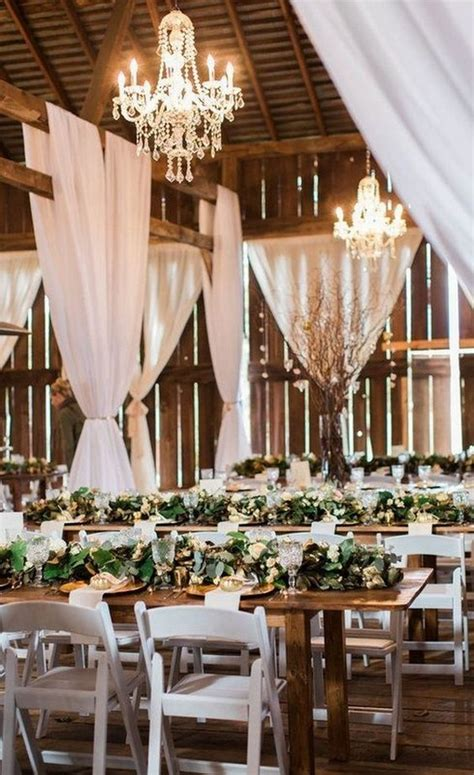 country barn wedding reception ideas  white draping