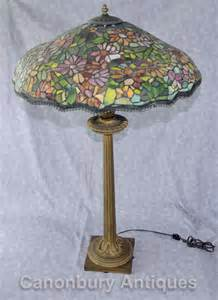antique french tiffany bronze table l light glass shade