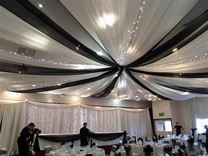 Wedding black and white ceiling draping ceiling drapes for Black ceiling drapes