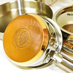 revere chefs supreme  piece stainless steel copper bottom pan set  shipping today