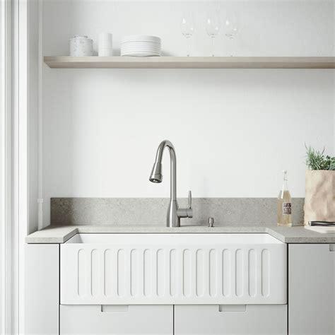 vigo kitchen sink reviews vigo all in one farmhouse matte 36 in single bowl 6773