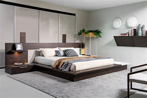 Contemporary Bedrooms : Modrest Torino Contemporary Brown Oak & Grey Platform Bed