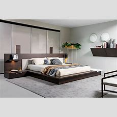 Modrest Torino Contemporary Brown Oak & Grey Platform Bed