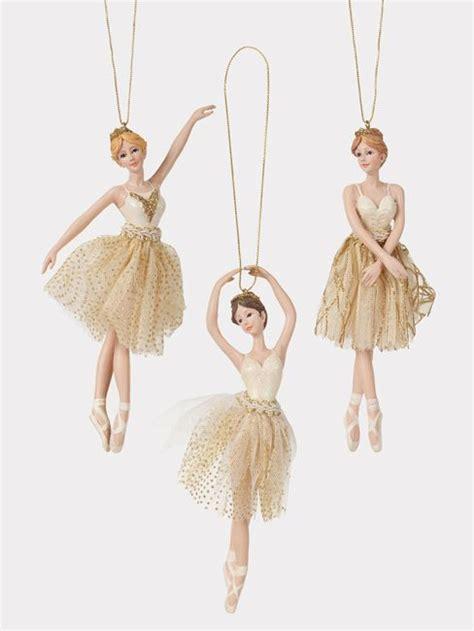 Ballerina Tree Decoration - porcelain gold ballerina ornament set of 3 ballerina
