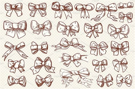 vintage bow clip art collection graphic objects creative market