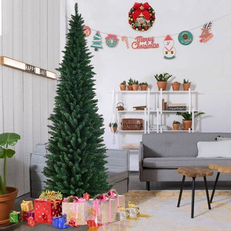 pencil christmas trees clearance gymax 8ft pvc artificial pencil tree slim w stand home decor green walmart