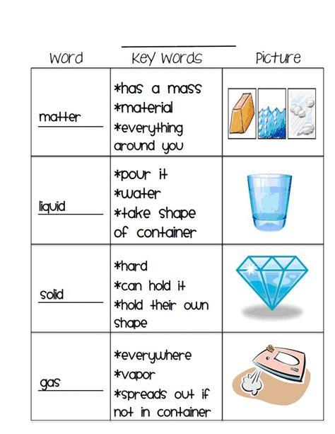 matter vocab 1 pdf classroom ideas
