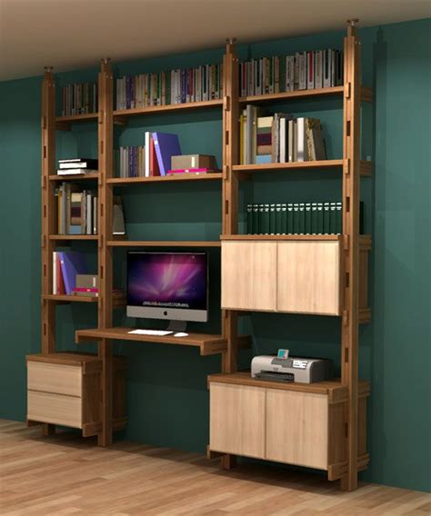 bibliothèque bureau intégré en frêne massif fabrication
