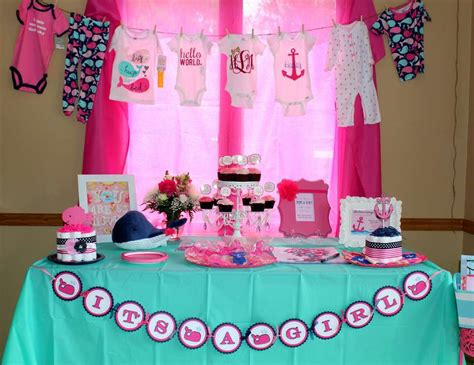"""Nautical Baby Shower Decorations For Home: Nautical/Whale / Baby Shower """"Nautical Baby Girl Shower"""