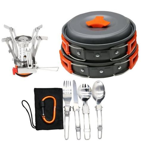 camping cookware backpacking pot cook cooking stick non stove compact gear motorcycle folding pcs amazon sets stoves pan hiking outdoor