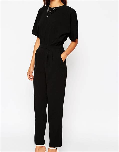 black jumpsuit with sleeves asos jumpsuit with kimono sleeve in black lyst