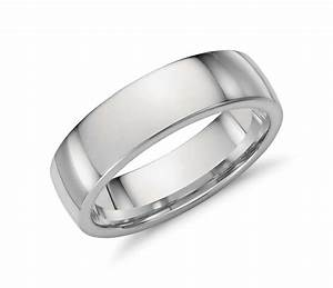 Low Dome Comfort Fit Wedding Ring In Platinum 6mm Blue