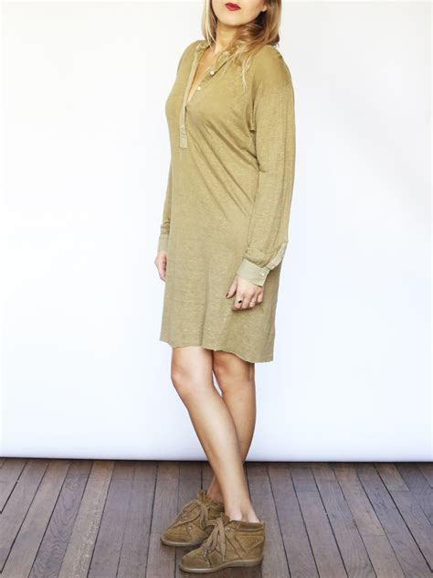 Louise Paris - ISABEL MARANT Etoile Yellow khaki green linen shirt dress with long sleeves Size L